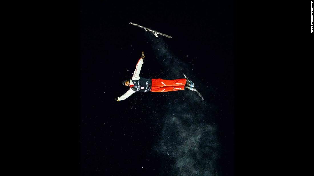 Switzerland's Pirmin Werner loses a ski during an aerials training jump in Park City, Utah, on Wednesday, February 6.