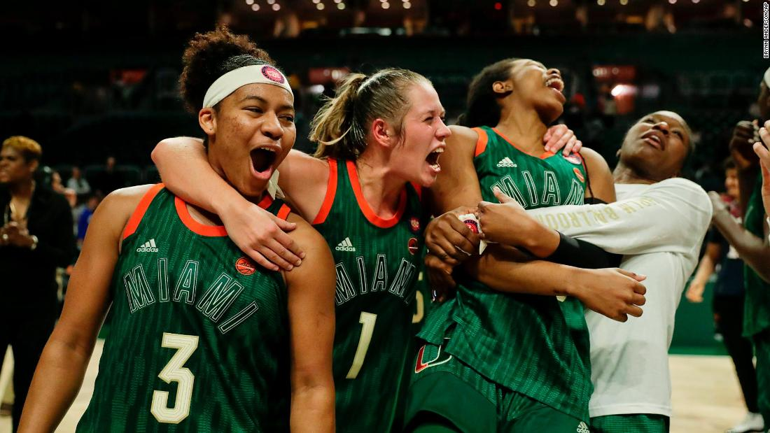 Miami basketball players celebrate after upsetting Notre Dame 72-65 on Thursday, February 7.