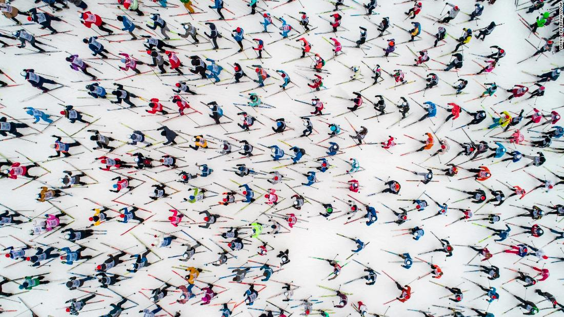 Skiers start the annual Ski Track of Russia just outside of Moscow on Saturday, February 9. About 20,000 amateurs competed in the event.