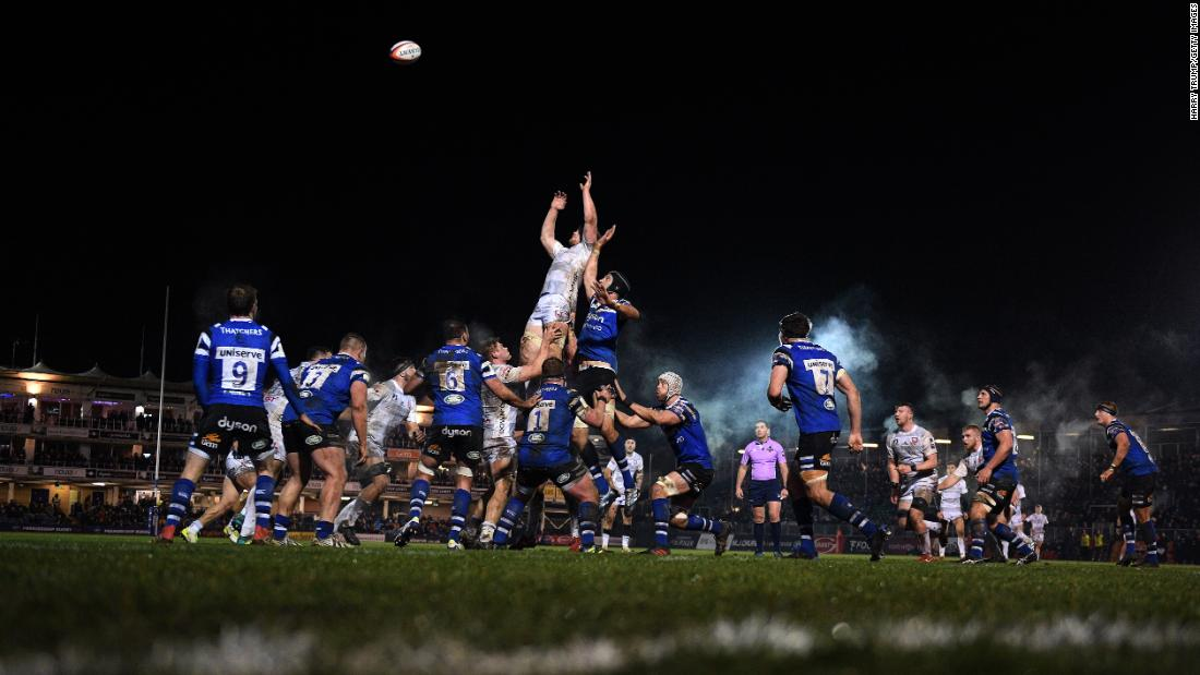 Players are held in the air during a Premiership Rugby Cup match in Bath, England, on Monday, February 4.