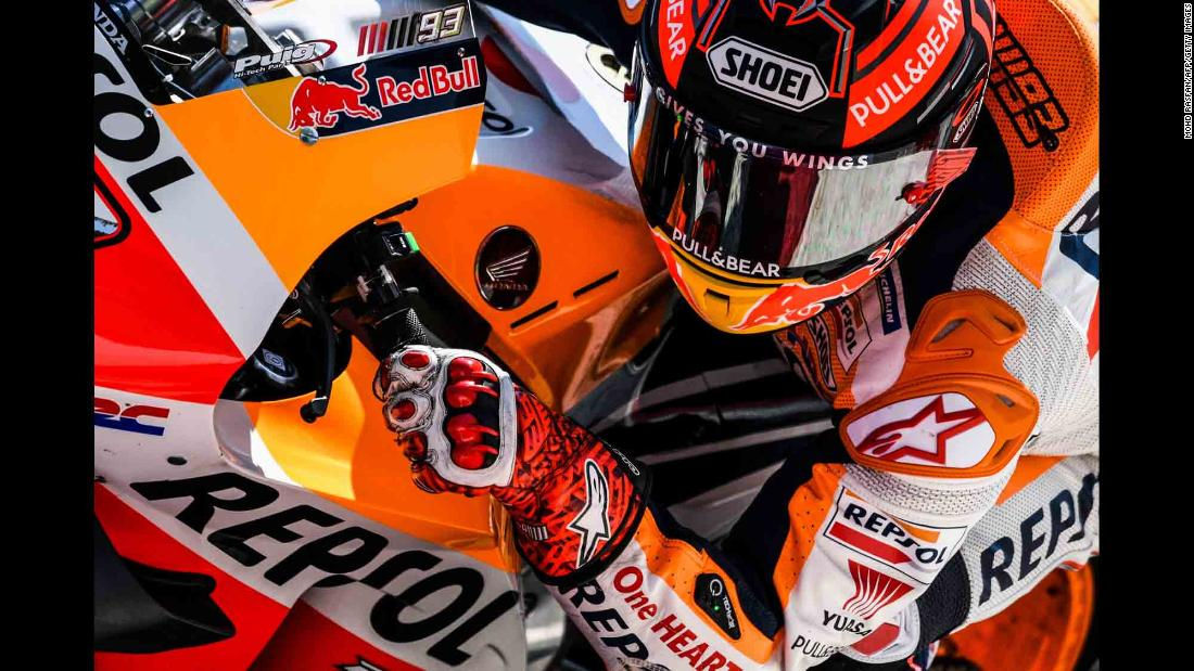 Marc Marquez takes a corner during MotoGP testing in Sepang, Malaysia, on Thursday, February 7. The season starts next month.