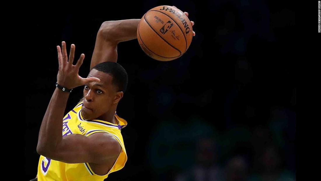 Los Angeles Lakers guard Rajon Rondo catches a pass during an NBA game in Boston on Thursday, February 7.