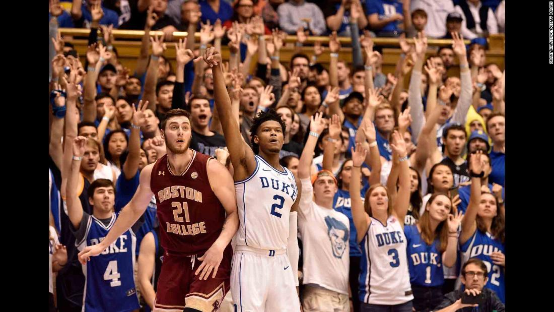 Duke fans watch a Cam Reddish 3-pointer drop into the net during an ACC game against Boston College on Tuesday, February 5.