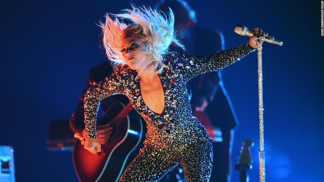 "Lady Gaga performs her hit song ""Shallow."" Earlier in the night, it won the Grammy for best pop duo/group performance."