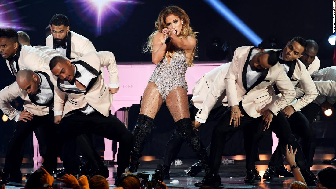 Jennifer Lopez dances during a medley of Motown hits.