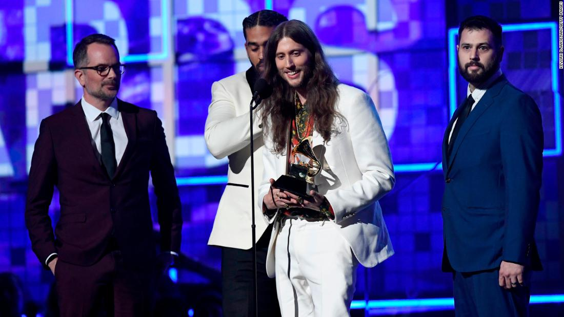 "Producer Ludwig Göransson accepts the record of the year Grammy for Childish Gambino's ""This Is America."" The rapper <a href=""https://www.cnn.com/entertainment/live-news/grammys-2019/h_12f7a14777cc72f3e49640b4e191c732"" target=""_blank"">didn't attend the event.</a>"