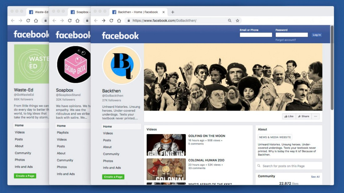 Some of the Facebook pages controlled by Maffick Media
