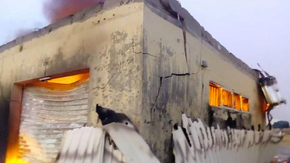 An office building used by Nigeria's election commission was burned down in Plateau state on February 10, just six days before the country is due to vote in a general election.