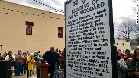 The Blinding of Isaac Woodard historical marker was dedicated in Batesburg-Leesville, South Carolina on Saturday. The bottom portion is written in Braille.