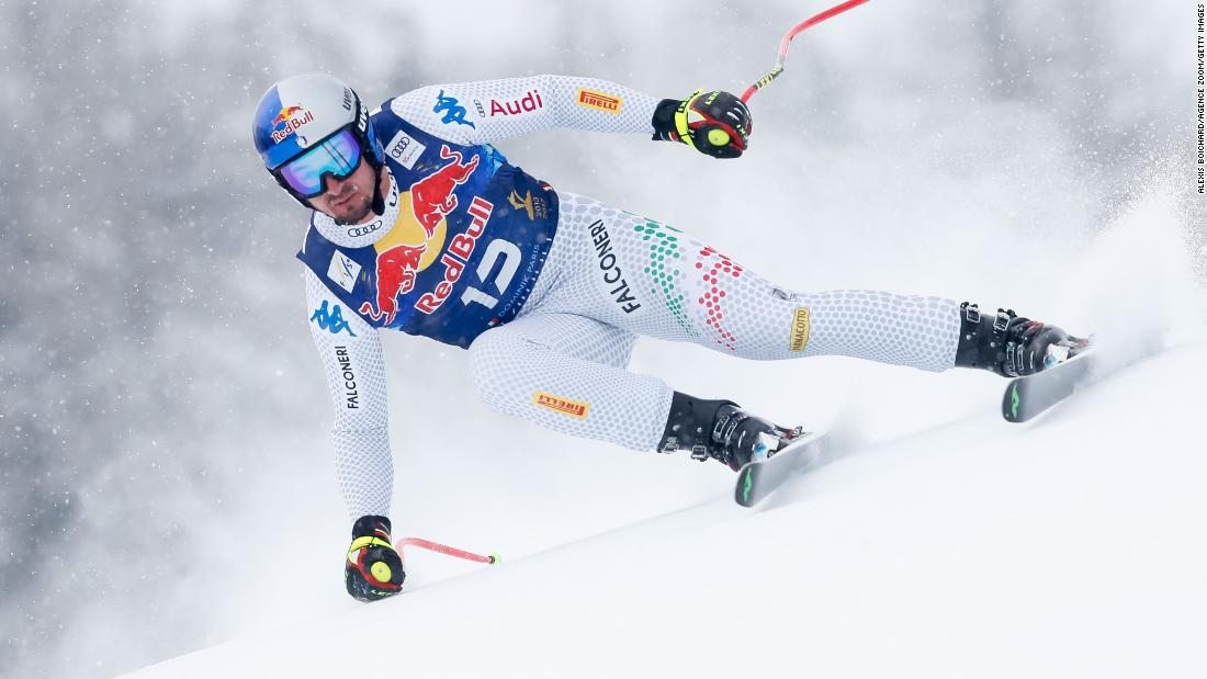 Dominik Paris in action on his way to winning the men's downhill in Kitzbuhel, Austria.
