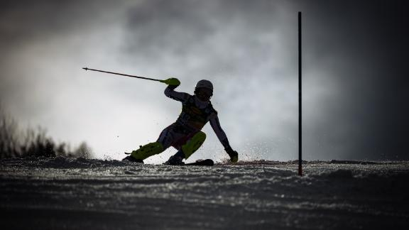 The silhouette of Gabriela Capova stands out as she competes in the slalom event in Maribor.