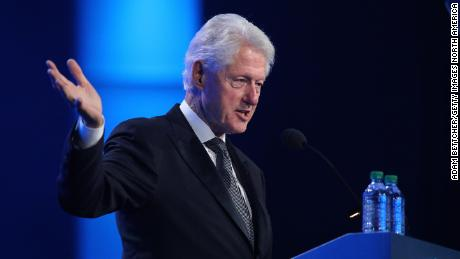 Former US President Bill Clinton delivers a speech last July.