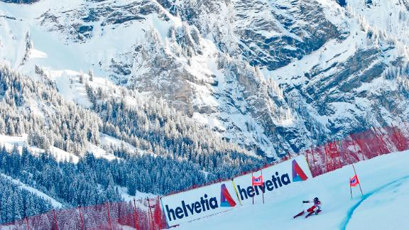 Marcel Hirscher flies round a bend during a winning run at the picturesque Adelboden.