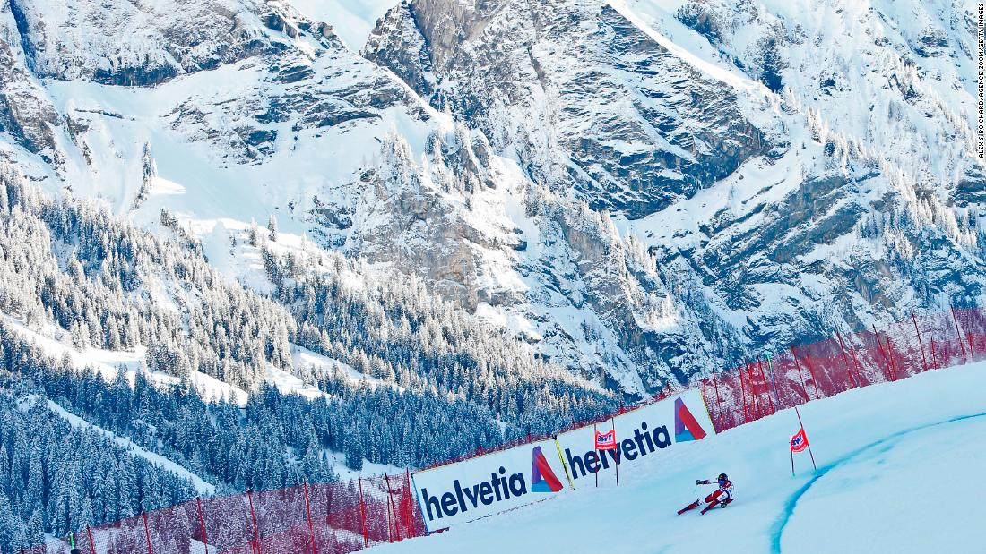 Marcel Hirscher flies round a bend during a winning run at the picturesque Adelboden.