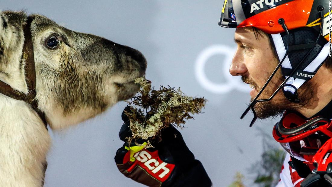 Marcel Hirscher shares his slalom victory in Levi, Finland, with a friend.