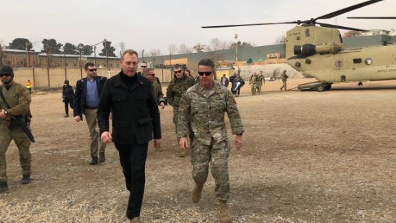 Acting Deputy Secretary of State Patrick Shanahan is greeted in Afghanistan by Gen. Austin Scott Miller.