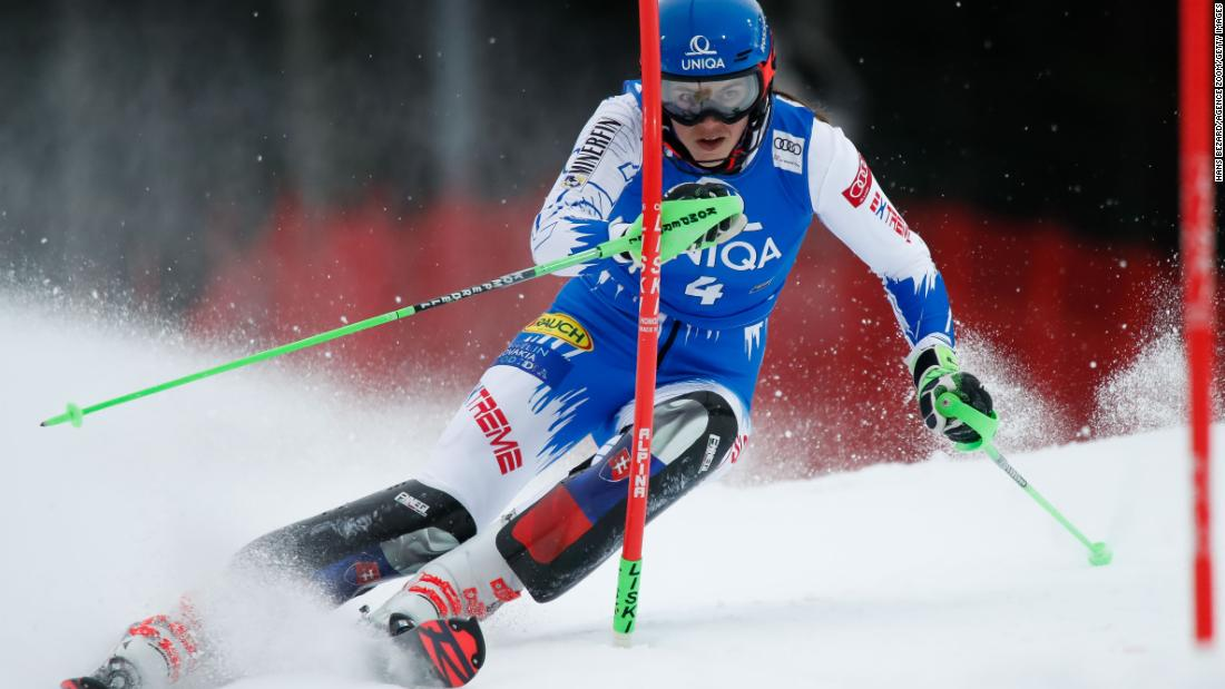 Petra Vlhova in action at the women's slalom in Semmering, Austria.