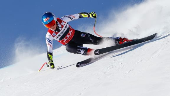 Mikaela Shiffrin gets low to the ground in St Moritz, where she won the parallel slalom and super-G events.