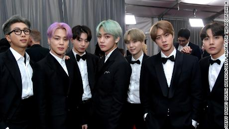 K-pop group BTS, who have achieved international acclaim, attend the 61st Grammy Awards in February.