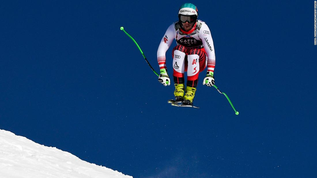 Austria's Vincent Kriechmayr flies through the Wengen air during his winning run in the men's downhill event.