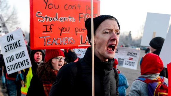 Teachers started their strike Monday, saying fluctuating pay every year discourages teachers from staying.