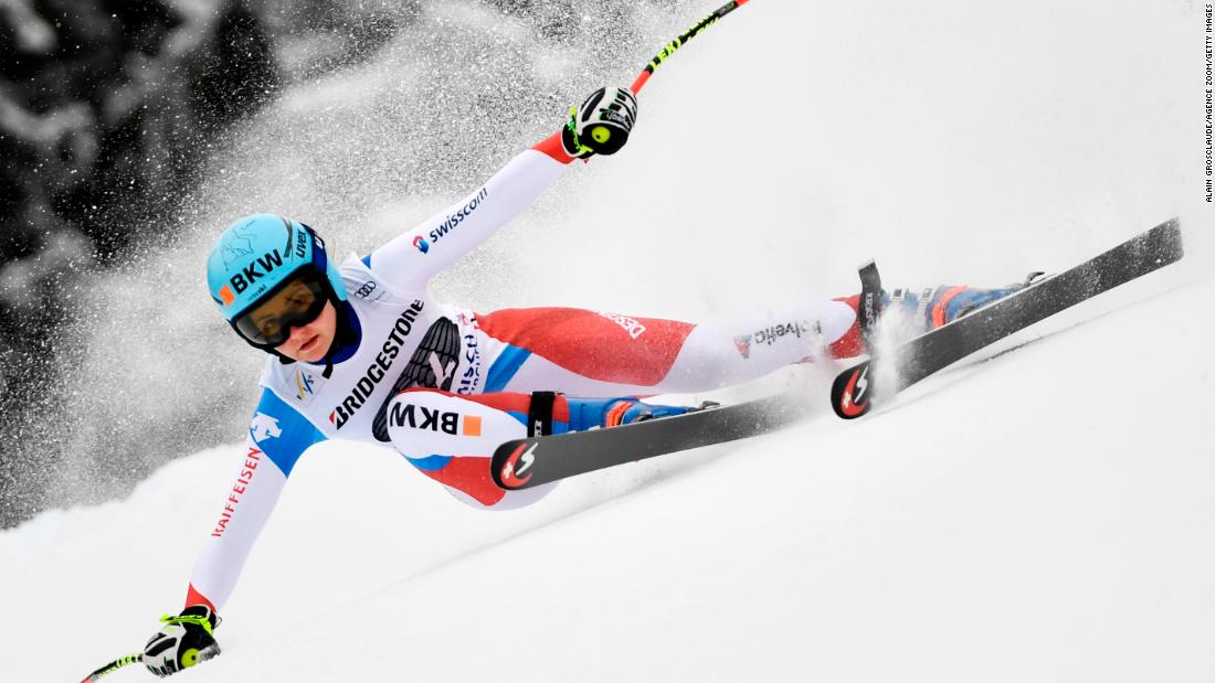 Swiss skier Luana Fluetsch appears almost flat on the snow as she competes in the super-G in Garmisch.