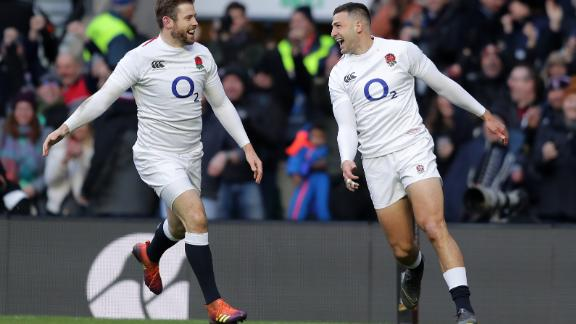 England secured its biggest ever victory over France in the Six Nations, outscoring Les Bleus six tries to one. Jonny May (right) grabbed three in the first half.