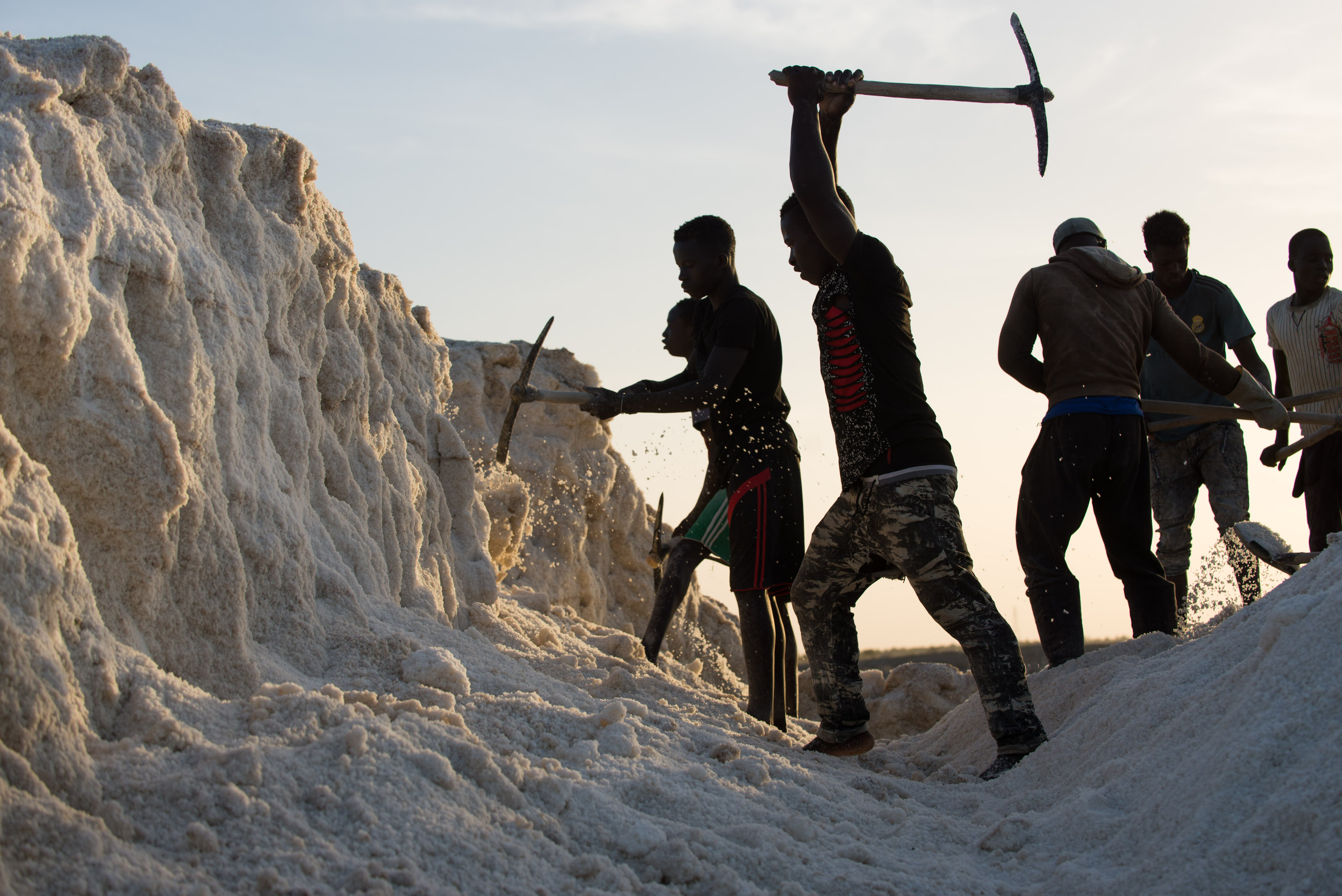 Young men chip away at a hardened mount of salt on Diouf's land in Fatick.
