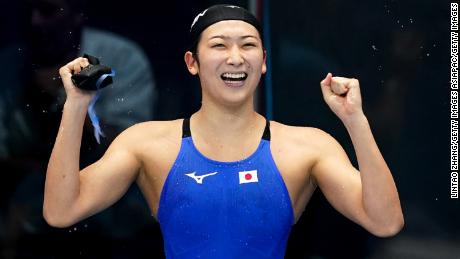Rikako Ikee of Japan celebrates after winning the  50m freestyle at the Asian Games.