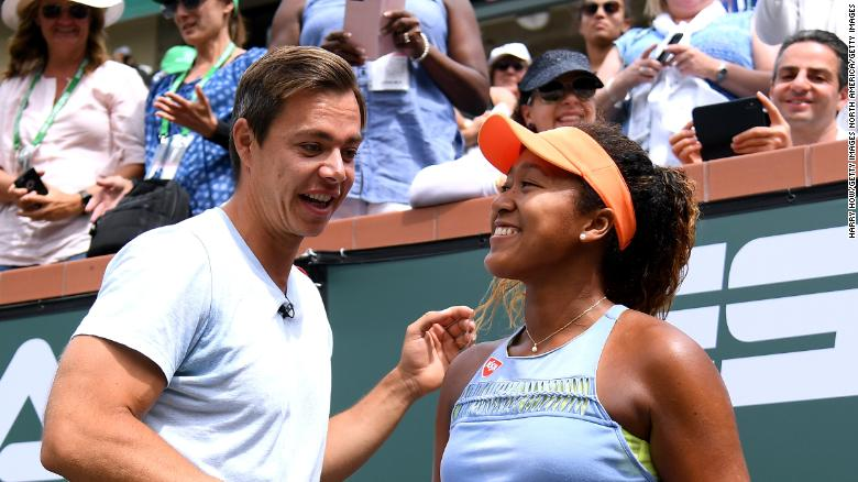 Osaka with Sascha Bajin after her victory in Indian Wells last year.