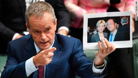 Leader of the opposition Labor Party Bill Shorten holds a photograph of Minister for Foreign Affairs Julie Bishop and Chinese businessman Huang Xiangmo in 2017.