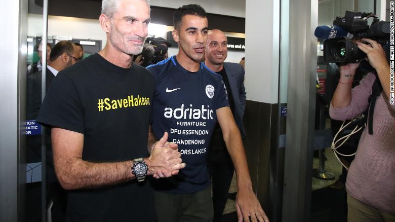Craig Foster, left, and Hakeem Al-Araibi at Melbourne Airport, Australia, on Tuesday.