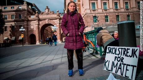 Thunberg strikes every Friday outside Swedish Parliament in a bid to get politicians to act on climate change.