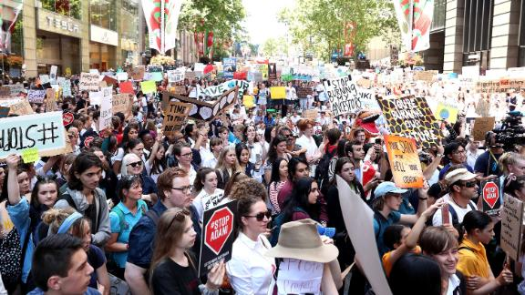 Students gather at a climate change event in Sydney.