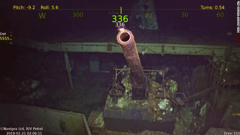 这张从海底机器人车辆拍摄的照片显示了新发现的美国海军大黄蜂的枪。