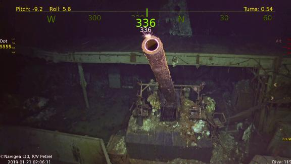 This image taken from a undersea robotic vehicle shows a gun on the newly discovered USS Hornet.