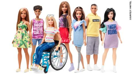 Barbie released this photo of dolls in its new Fashionistas line.