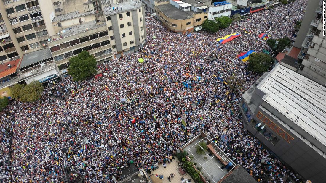 Venezuelan opposition supporters protested in Caracas on Tuesday, February 12, calling on Maduro to let humanitarian aid into the economically crippled country.