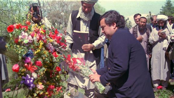 "Special envoy and US ambassador to the UN Bill Richardson lays a wreath in 1998 on the monument for the slain American ambassador to  Afghanistan, Adolph ""Spike"" Dubs, who was killed in 1979."