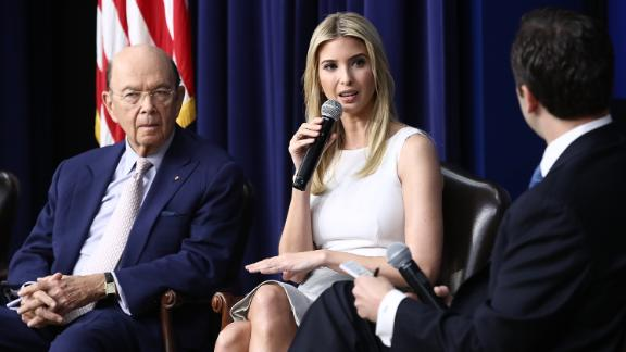 WASHINGTON, DC - APRIL 04:  Ivanka Trump delivers remarks during an event at the Eisenhower Executive Office Building April 4, 2017 in Washington, DC. U.S. President Donald Trump also delivered remarks and answered questions from the audience during a town hall event with CEO's on the American business climate. Also pictured are U.S. Commerce Secretary Wilbur Ross (L) and Reed Cordish (R), from the Office of American Innovation.  (Photo by Win McNamee/Getty Images)