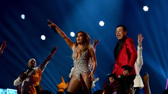 Jennifer Lopez and Smokey Robinson perform onstage during the 61st Annual Grammy Awards at Staples Center on February 10, 2019 in Los Angeles, California.