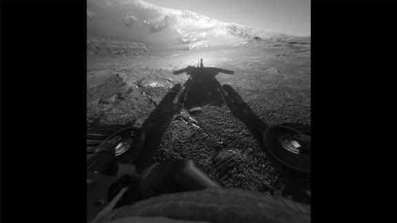A shadow selfie. On July 26, 2004, the rover took this photo commemorating its 90 days on Mars -- the amount of time the mission was supposed to last. Instead, it continued for 15 years.