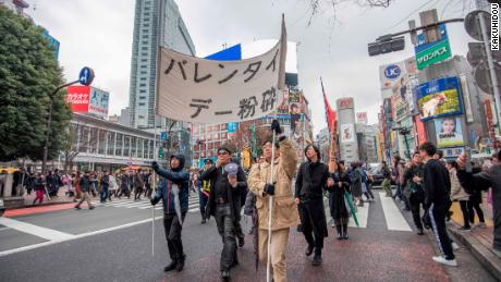 RAUP gathered to shout anti-Valentine's day trail in Tokyo, Japan.