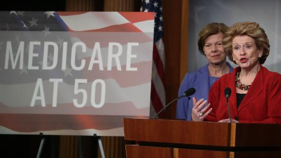 WASHINGTON, DC - FEBRUARY 13: Sen. Debbie Stabenow(D-MI) (R) and Sen.Tammy Baldwin(D-WI) participate in a news conference to announce legislation giving people between the ages of 50 and 64 the option of buying intoMedicare on February 13, 2019 in Washington, DC. (Photo by Mark Wilson/Getty Images)