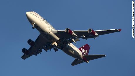 The Virgin Atlantic Boeing 747 is preparing to land in London's Gatwick.
