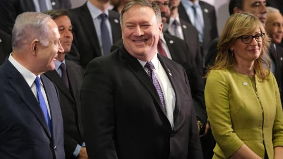 WARSAW, POLAND - FEBRUARY 14:  U.S. Secretary of State Mike Pompeo (C) and  Israeli Prime Minister Benjamin Netanyahu attend the group photo at the Ministerial to Promote a Future of Peace and Security in the Middle East on February 14, 2019 in Warsaw, Poland. The ministerial is a conference on the Middle East sponsored by the Polish and U.S. governments. Many European countries are only sending junior representatives or leaving the two-day conference early as E.U. and U.S. policies towards the Middle East and Iran have increasingly diverged since the Trump administration took power. (Photo by Sean Gallup/Getty Images)
