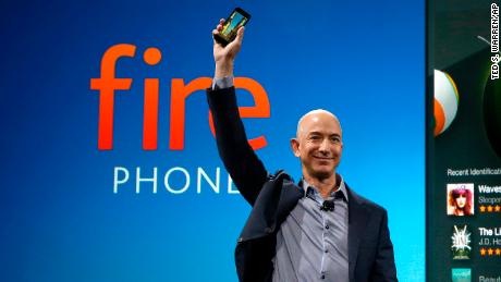 Amazon CEO Jeff Bezos introducing the new Amazon Fire Phone in 2014.