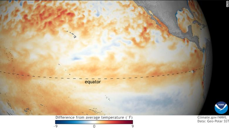 Sea surface temperatures in January -- orange-red colors are above normal.