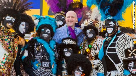 New Orleans Mayor Mitch Landrieu, center, and Zulu members pose in 2012 before the group's parade.