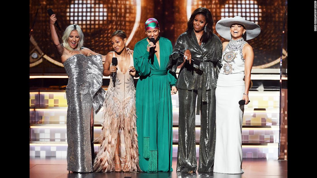 First-time Grammys host Alicia Keys, center, was joined by some special company as she opened the award show on Sunday, February 10. With her, from left, are Lady Gaga, Jada Pinkett Smith, former first lady Michelle Obama and Jennifer Lopez.